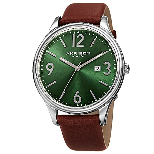 Akribos XXIV Element Mens Casual Watch - Sunburst Effect Dial - Japanese Quartz - Leather Strap - Green Brown (Effect Leather Watch Strap)
