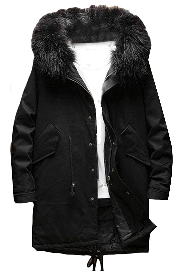 WSPLYSPJY Mens Outwear Thick Winter Quilted Faux-Fur Hood Cardigan Sweaters Jackets