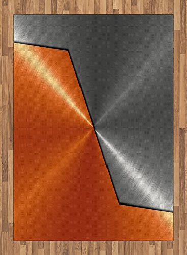 Copper Area Rug by Ambesonne, 3D Style Machinery Structure Image Detailed Vivid Modern Design Contrast Colors, Flat Woven Accent Rug for Living Room Bedroom Dining Room, 5.2 x 7.5 FT, Orange Gray by Ambesonne