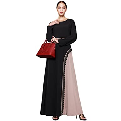 afc39927b0 Romacci Muslim Kaftan Dubai Long Sleeve Dress Crochet Lace Splice Islamic  Abaya Women Maxi Dress