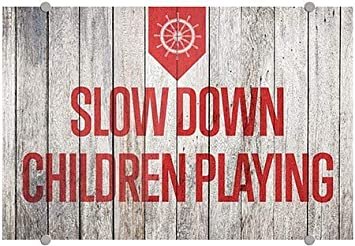 18x12 Nautical Wood Premium Brushed Aluminum Sign 5-Pack Slow Down Children Playing CGSignLab