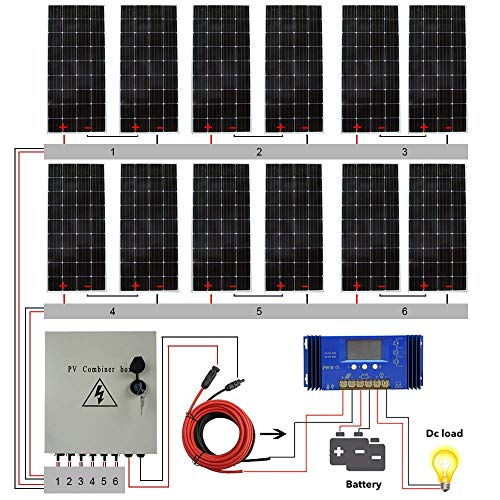 ECO LLC 2300W 24V Complete Off Grid Solar System Kit with 12X 195W Solar Panel and 6 String Combiner Box and 3000W 24V-110V Inverter and 60A Solar Charge Controller(Battery not Include)
