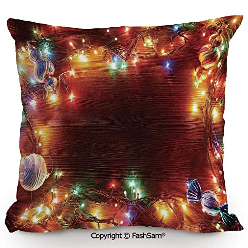 FashSam Decorative Throw Pillow Cover Fairy Lights on Wooden Rustic Pine with Ornaments and Candy Lollies for Pillow Cover for Living Room(14