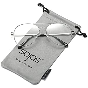 SojoS Classic Aviator Mirrored Flat Lens Sunglasses Metal Frame with Spring Hinges SJ1030 With Silver Frame/Clear Lens