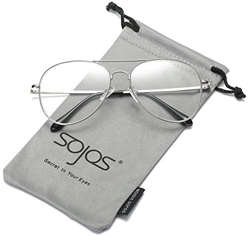 SojoS Classic Aviator Mirrored Flat Lens Sunglasses Metal Frame with Spring Hinges SJ1030 With Silver Frame/Clear - Aviator Glasses Frames