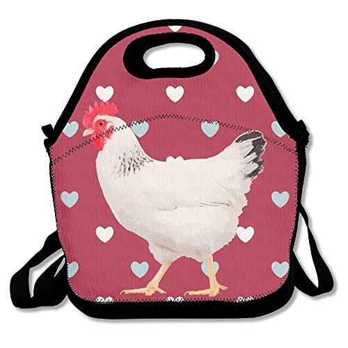 Graceful Walking Chicken Insulated Lunch Bag - Neoprene Lunch Bag - Large Reusable Lunch Tote Bags For Women, Teens, Girls, Kids, Baby, Adults Portable Carry (Recipe Box Rooster)