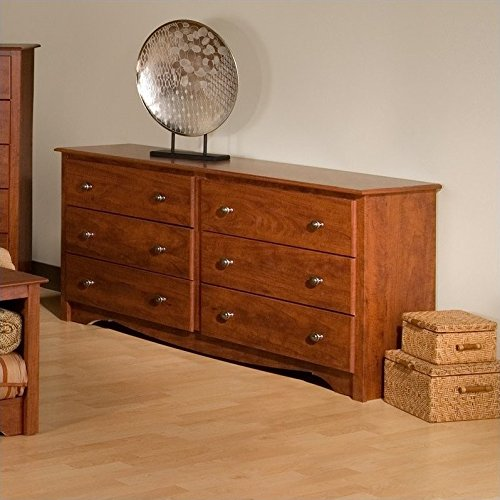 Prepac Monterey Queen 4 Piece Bedroom Set in Cherry