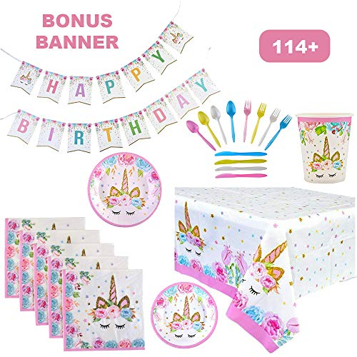 (114+ Piece Unicorn Theme Birthday Party Supplies Set for Girls | Serves 16 Guests | Tableware Decorations with Banner and Tablecloth | Disposable Plates & Cups for Easy Cleanup -)
