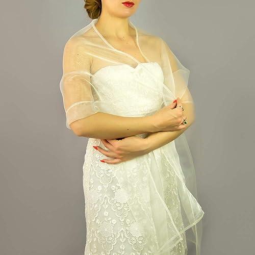 Chal organza color marfil blanco oscuro novia boda para vestido de novia