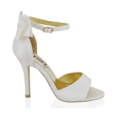 ESSEX GLAM Womens Stiletto HIGH Heel Ankle Strap Buckle Bow Ladies White  Ivory Bridal Peeptoe Sandals Shoes Size 3-8  Amazon.co.uk  Shoes   Bags ad9faf3d7a