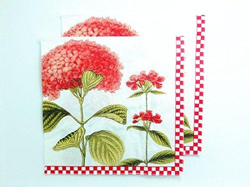20 pcs Vintage Paper Napkins Decoupage Beautiful Pink Ball Flowers Art Crafts Decor 2-Ply 13