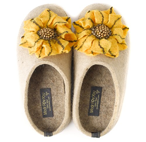 Made For You Women's Natural Wool Slippers with Handmade Daisy Flower, Lightweight and Comfortable with Non-Slip Rubber Sole and 1/2