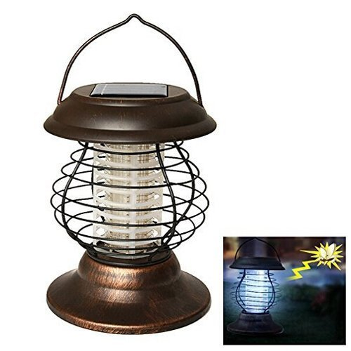 Remiel Portable Solar Mosquito Killer Lamp Stainless Steel Home Large UV Pest Control Lights Brown Indoor Outdoor with 1 LED 1 UV LED (Brown) - Chain Counter Control