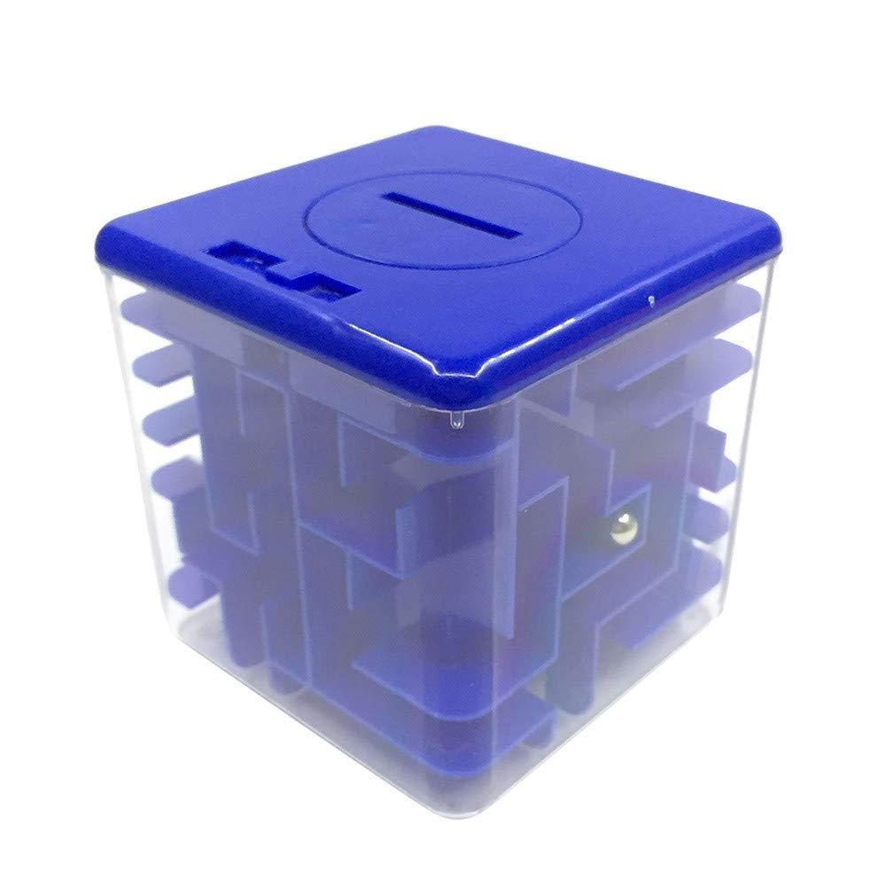 Denzar お金迷路パズルボックス 貯金箱 小銭入れ お札収納ボックス ゲームチェンジ玩具 素晴らしいギフト 子供と大人への楽しいユニークな贈り物  ブルー B07NSB9XR1