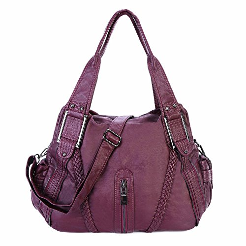 Ladies Handbag Washed Soft Leather Large Capacity PU Cross Body Tote Bags for Women (Mulberry-3) Purple2