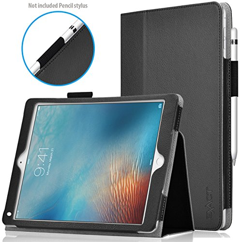 Price comparison product image iPad Pro 9.7 Case - Exact [PRO Series] iPad Pro 9.7inch Case - [Professional][Drop Protection]Slim-Fit PU Leather Folio Case for Apple iPad Pro 9.7 (2016)(With Auto Wakes / Sleep Function) Black