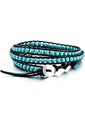 MOWOM Alloy Genuine Leather Bracelet Bangle Cuff Rope Bead 3 Wrap Adjuastable
