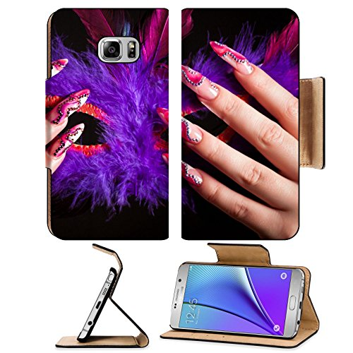 Liili Premium Samsung Galaxy Note 5 Flip Pu Leather Wallet Case Human fingers with long fingernail and beautiful manicure holding venetian mask Photo 5821287 Simple Snap (Simple Venetian Masks)