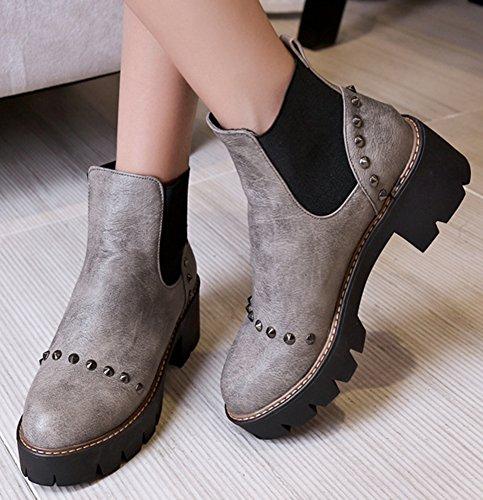 Idifu Womens Dressy Platform Tempestato Di Stivaletti Da Equitazione Con Tacco Medio, Stivaletti Alla Caviglia