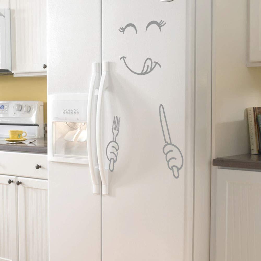 Gray HUHU833 Cute Happy Delicious Face Wall Stickers Kitchen Art Fridge Sticker