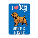 I Love My NORFOLK TERRIER DOG LABEL DECAL STICKER Sticks to Any Surface - 8 In x 12 In