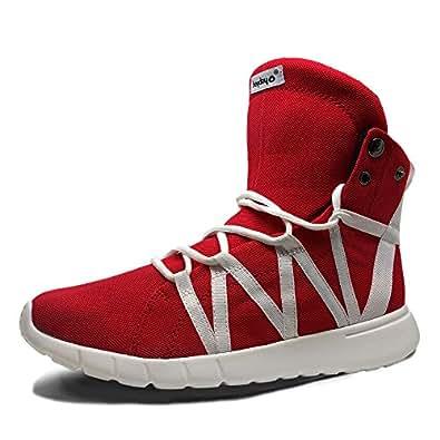 Heyday Footwear Men's Super Freak Red Fabric High Top Sneaker - Size 5 D(M) US