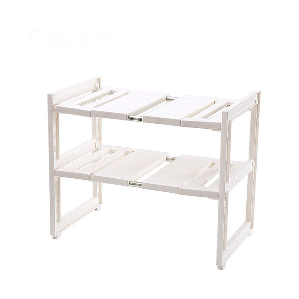 Lower sink rack Storage rack Plastic Stainless steel Retractable Removable Easy to install Wear-resistant Anti-skid Moisture Durable 27.639.641.2~70.5cm (Color : 27.639.641.2~70.5cm)