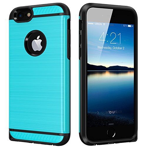 iPhone 6S Plus Case iPhone 6 Plus Case CHTech Shock Absorption Dual Guard Protection Brushed Metal Texture Series Protective Case cover for Apple iPhone 6/6S Plus-Blue