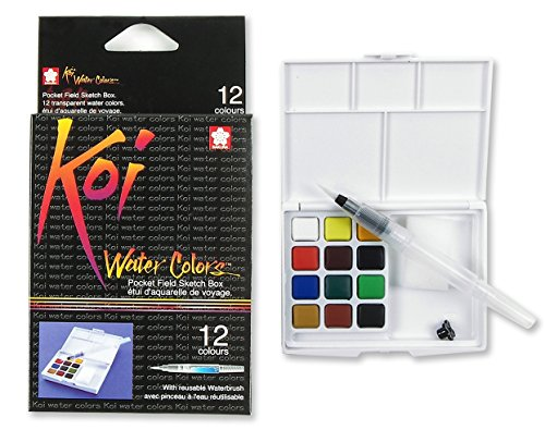 Sakura XNCW-12H, 12 Assorted Watercolors Field Sketch Set with -