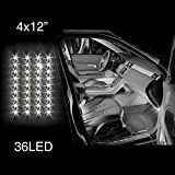 WHITE 4pcs 36 LED Waterproof Three Mode Neon Accent light Kit for Car Interior Trunk Truck Bed Bush Fender