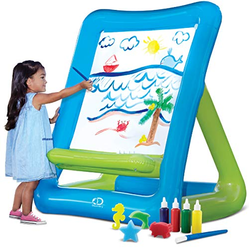 "Discovery Kids Inflatable Art Easel with Paint for Young Artists, Sponge Stamps and Brush, Easy Clean/Washable Painting Set, Indoor/Outdoor, Arts and Crafts Station for Birthday Party, 50""x39""x27"""