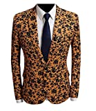 RSunshine Mens Printed Causal Long-Sleeve Flat Collar Pockets Office Suits Blazer AS17 M