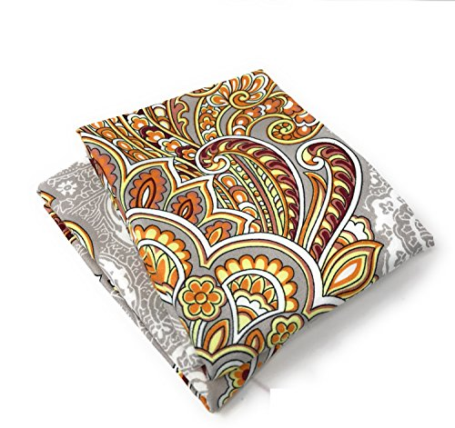 Tache Gold Orange Paisley Grey Pillowcase - Sunshine Festival - Microfiber Elegant Decorative 20x30 Pillow Covers - 2 Piece Set