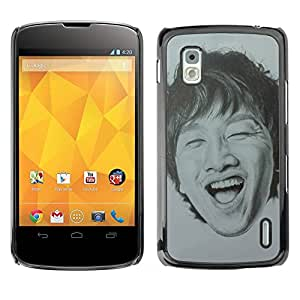 Paccase / SLIM PC / Aliminium Casa Carcasa Funda Case Cover - Portrait Man Laughing Teeth - LG Google Nexus 4 E960