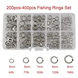 7 mm split rings - RG 200pcs/box-400pcs/box 5 Mixed Size Stainless Steel Double Split Rings by High Strength Heavy Duty Fishing Split Ring Set Fishing Lures Hook Connector Lures Tackle Kit-Test:44lb-194lb (200pcs set)