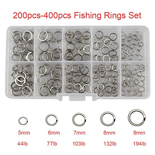 - 200pcs/box-400pcs/box 5 Mixed Size Stainless Steel Double Split Rings by RG - High Strength Heavy Duty Fishing Split Ring Set Fishing Lures Hook Connector Lures Tackle Kit-Test:44lb-194lb (200pcs set)