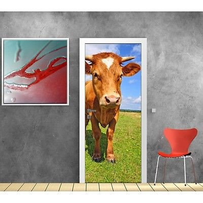 Door Wallpaper Cow 575, 83x204cm