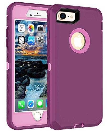 MXX iPhone 8 Heavy Duty Protective Case with Screen Protector [3 Layers] Rugged Rubber Shockproof Protection Cover for Apple iPhone 7 / iPhone 8 - Purple/Light Pink