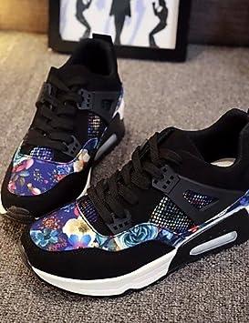 moda-Zapatillas mujer Sneakers-Casual-Punta redondeada-bajo-imitación de cuero