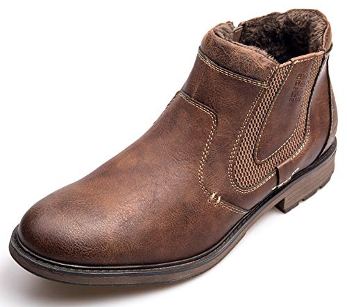 XPER Men's Chelsea Boots Fashion Brown Slip on Fur Lining Causal Winter Ankle Boots Retro Style Leather Boots Size 7-15