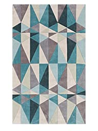 Surya Cosmopolitan COS-9169 Transitional Hand Tufted 100% Polyester Teal Blue 2\' x 3\' Geometric Accent Rug