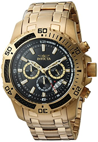 Invicta Men's 'Pro Diver' Quartz and Stainless Steel Casual Watch, Color:Gold-Toned (Model: 24855)