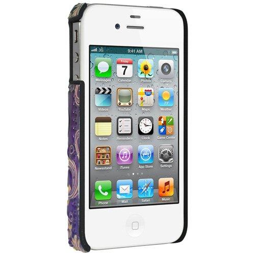 Amzer Coque métallique en relief pour iPhone 4/4S (Fleur de lys)