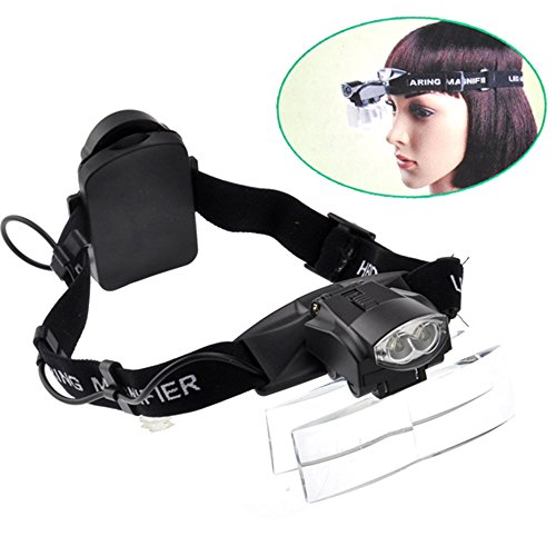 Headlamps Lighting (Lighted Magnifying Headlamp Magnifier Glasses Visor Headset with Led Light Hands-free Headband Loupe for Watch Electronics Repair Reading Eyelash Hobby Crafts,1.0X-6.0X,5 Lenses,11 Magnifications)