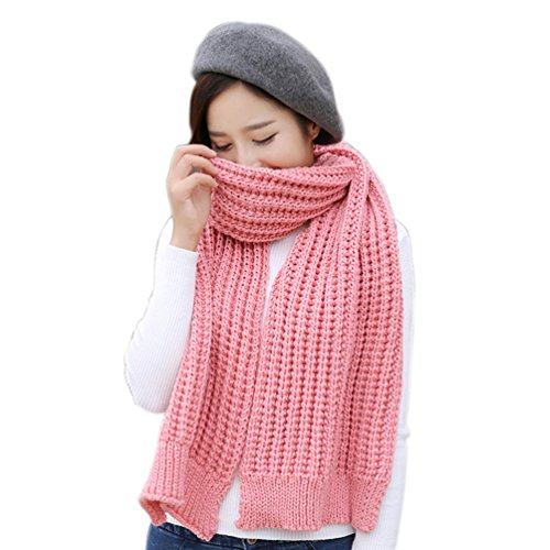 Women's Solid Thick Knitted Winter Warm Infinity Scarf (Pink) (Pink Knitted Scarf)