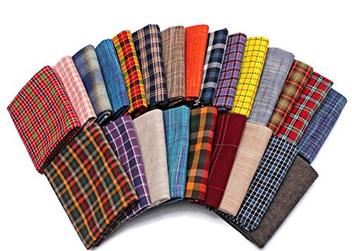 - 10 Fat Quarters - Assorted Homespun Yarn Dyes Rustic Woven Plaid Checks Quality Quilters Cotton Fabric Bundle M226.13