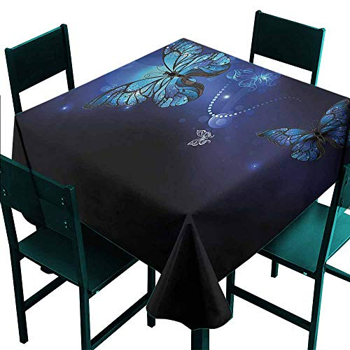 - DONEECKL Easy Care Tablecloth Dark Blue Monarch Butterflies Motif and Durable W70 xL70