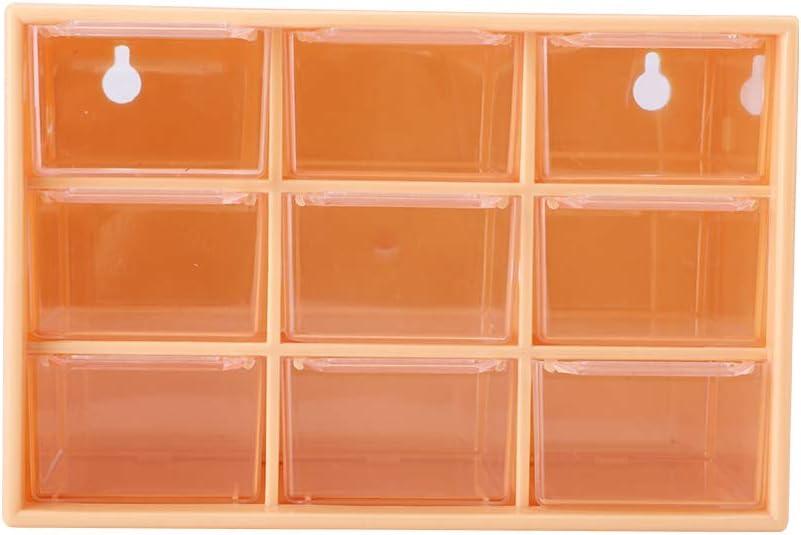 9 Cajones Almacenamiento de Escritorio Plástico portátil 9 Mini celosías Cajones Joyas Caja de Almacenamiento cosmético(Amarillo)
