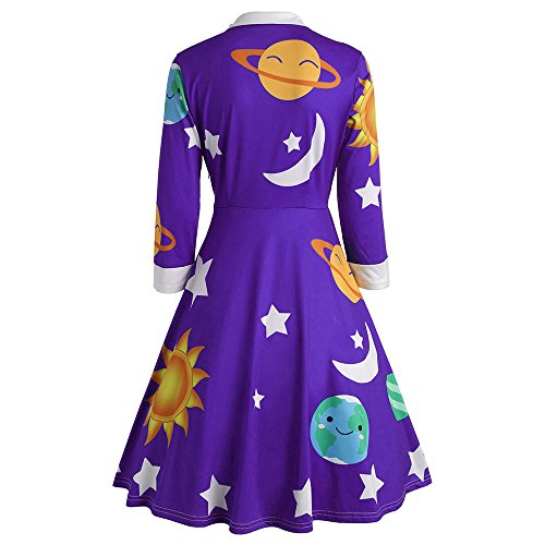 CHARMMA Women's Vintage Peter Pan Collar Planet Print A Line Flare Party Dress (Purple, XL)