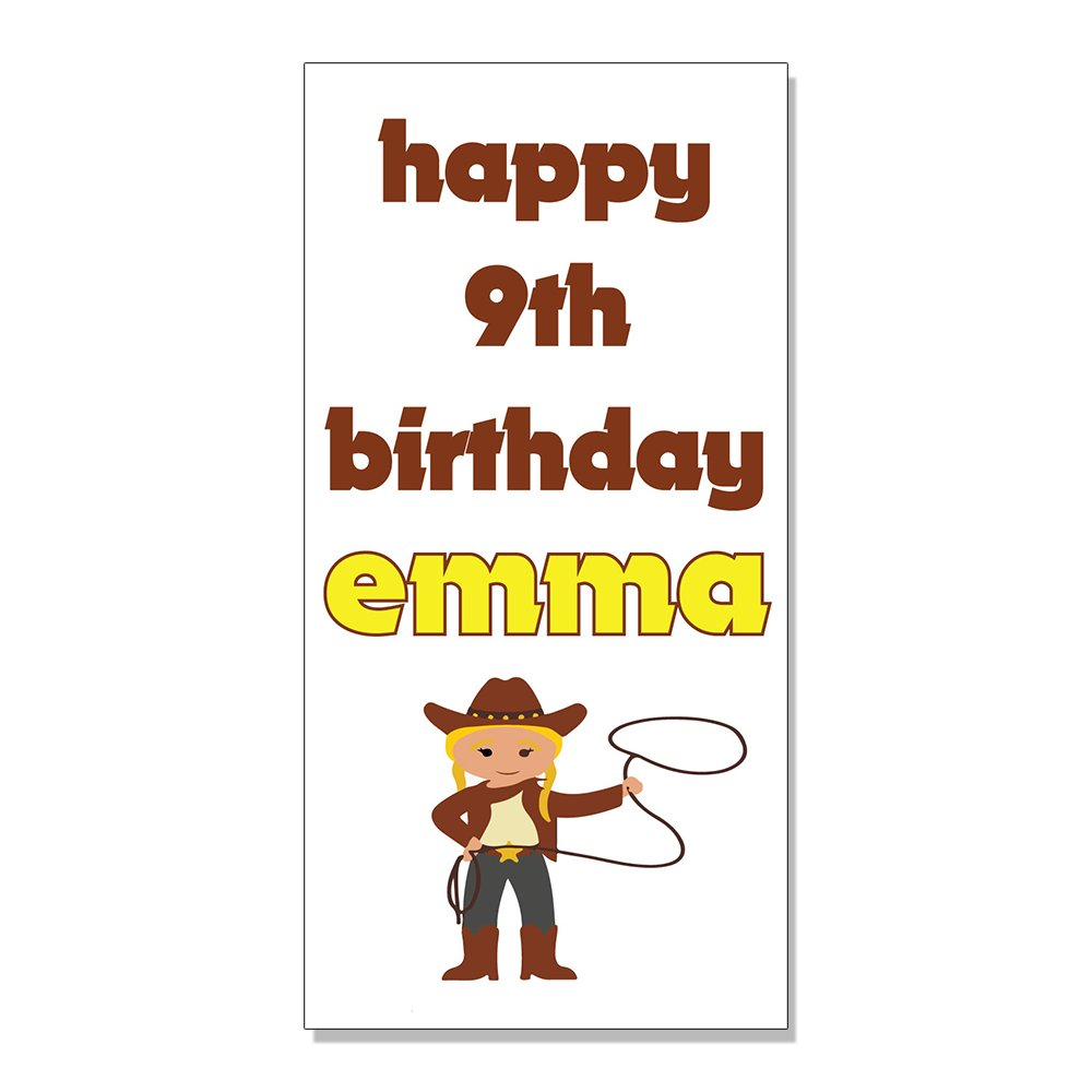 Amazon com happy 9th birthday girl girly cowgirl custom decal sticker retail store sign 4 5 x 12 inches office products